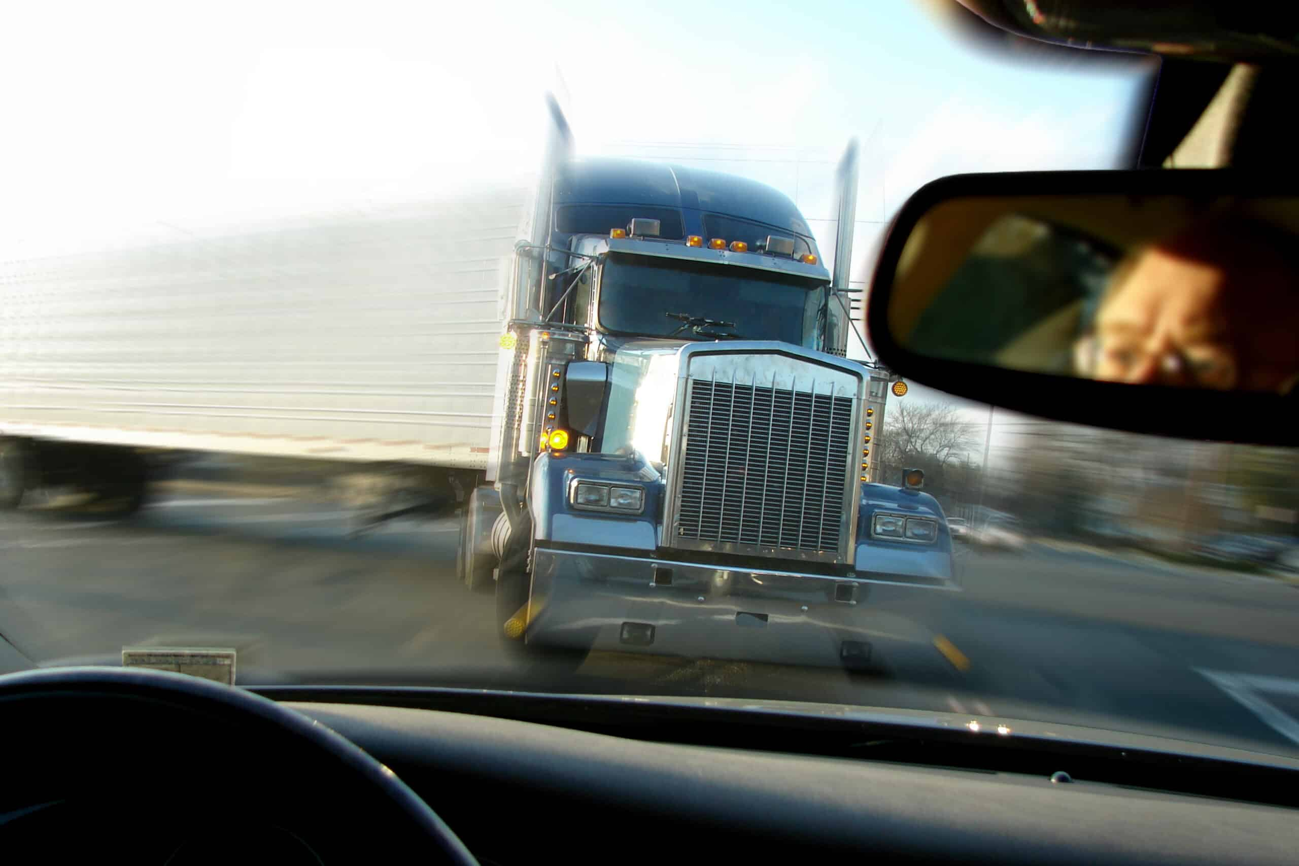 Close,Call,Imminent,Crash,Accident,With,A,Tractor,Trailer,Truck